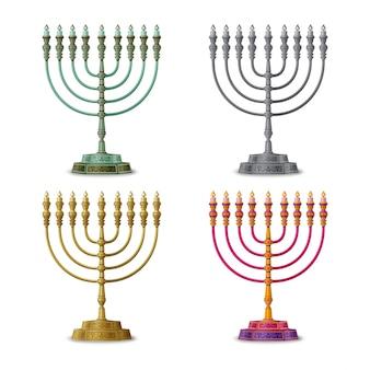 Goudkleurige, veelkleurige en zilveren chanoeka menora, negenarmige kandelaar. illustratie.