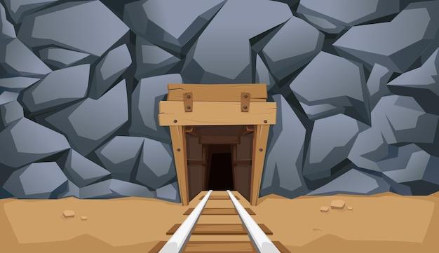 Goudmijn met rails en houten vloeren. steen rots. vector illustratie.