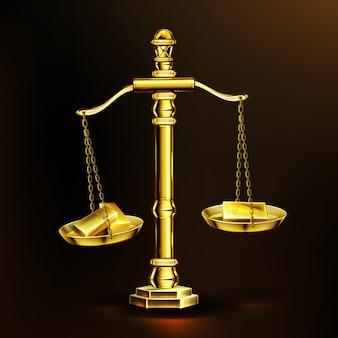 Goudstaven op weegschaal, realistische gouden gewichten met edelmetaalblokken