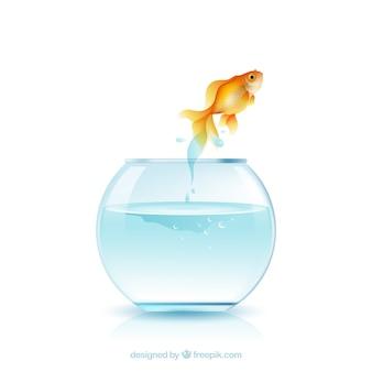 Goudvis die uit fishbowl in realistische stijl springt