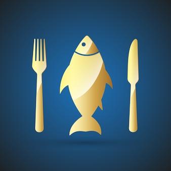 Goudvis icon - restaurant symbool