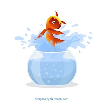 Goudvis springen uit fishbowl in vlakke stijl