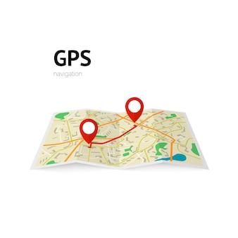 Gps navigatie. het pad op de kaart is aangegeven met een speld. illustratie