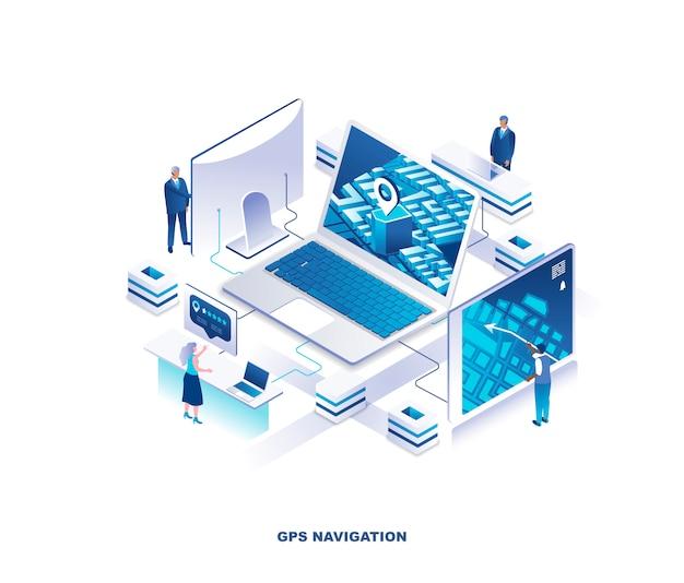 Gps-navigatie, locatie zoeken, isometrisch concept van online locator