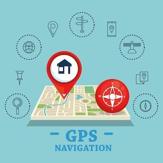 Gps navigatie set pictogrammen