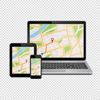 Gps-navigatiekaart tentoongesteld van moderne digitale apparaten