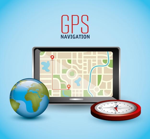 Gps-navigatiemachine met globe en kompas