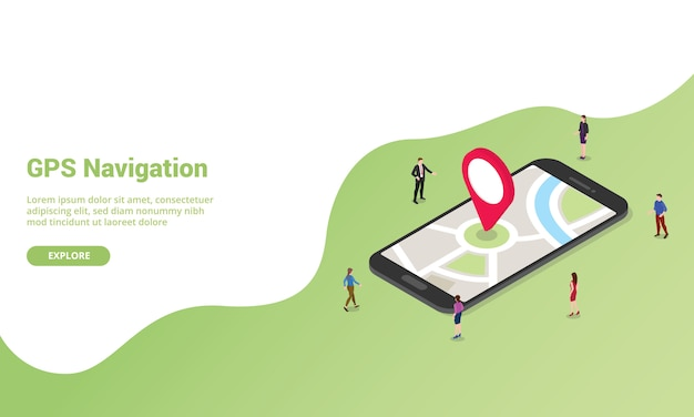 Gps-navigatietechnologie isometrisch voor websitesjabloon of banner voor startpagina