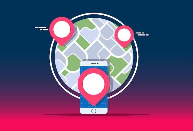 Gps-navigator, bespotten met kaart op verloop.