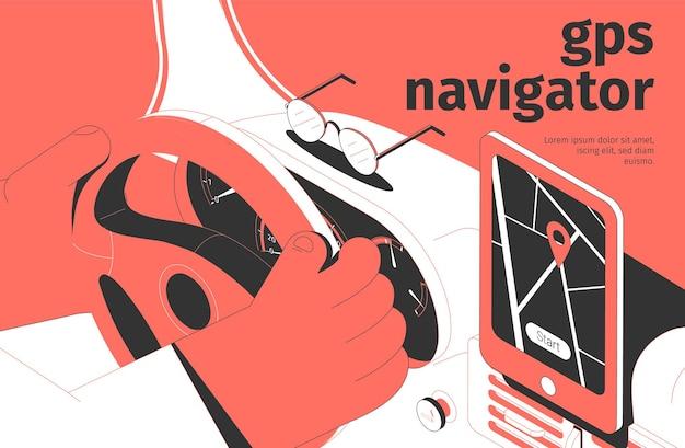 Gps-navigator isometrische illustratie