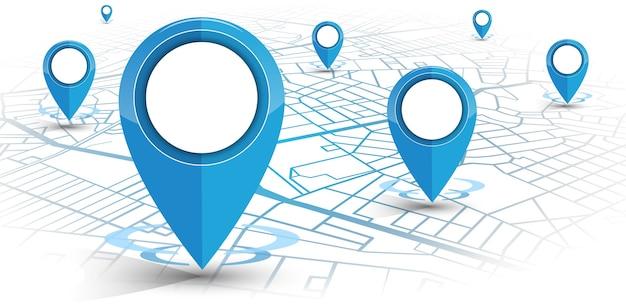 Gps-navigator pin blauwe kleur met kaart