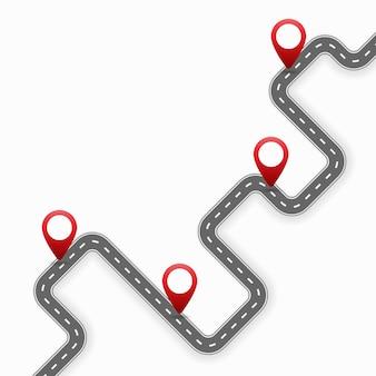 Gps pin pointers op de weg cartoon afbeelding