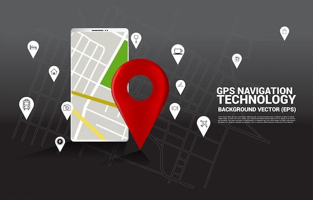 Gps-pinteller en kaart in mobiele telefoontoepassing. concept van locatie en faciliteit plaats, gps-technologie