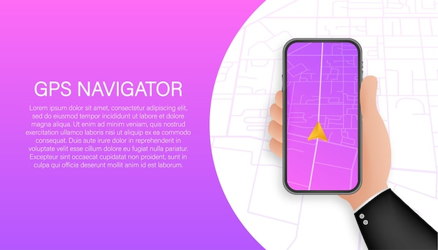Gps-sjabloon voor spandoek navigatie. smartphone kaartapplicatie. kaartspeld