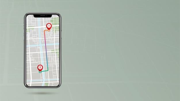 Gps-wijzer die het routepunt a tot punt b op mobiele telefoon met zijruimte toont