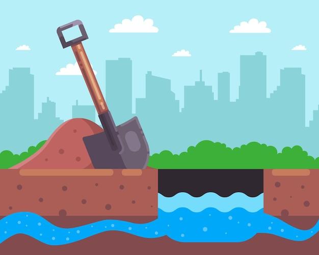 Graaf een gat voor een put. vind een ondergrondse rivier. vlakke afbeelding.