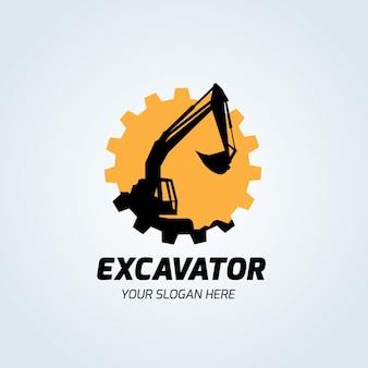 Graafmachine en backhoe logo vector illustratie