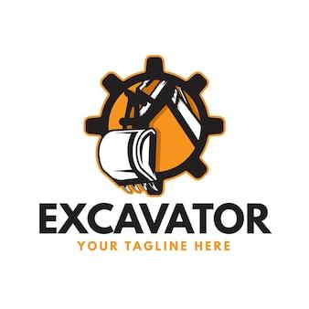 Graafmachine en constructie-logo met versnelling