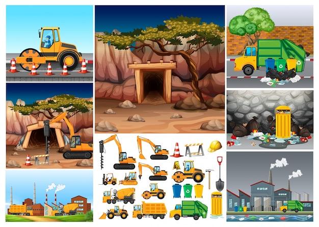 Graafmachine-tractoren die op verschillende locaties werken