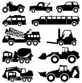 Graafmachine vrachtwagen van limousine vrachtwagen auto vorkheftruck voertuig.