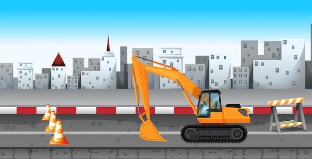Graafwerktuig die bij de wegenbouw werken