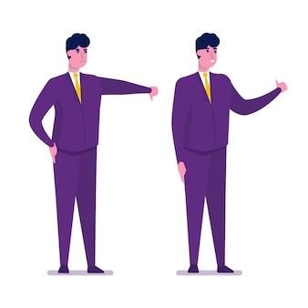 Graag een hekel aan zakenmankarakter dat gebaar van goedkeuring en afkeuring toont