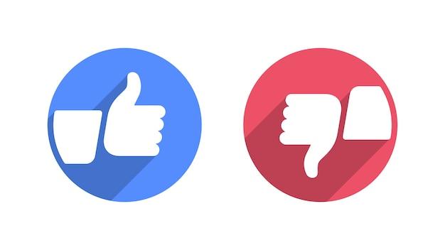Graag en afkeer van moderne plat pictogrammen