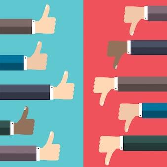 Graag en niet leuk concept. duim omhoog en duim omlaag handteken.
