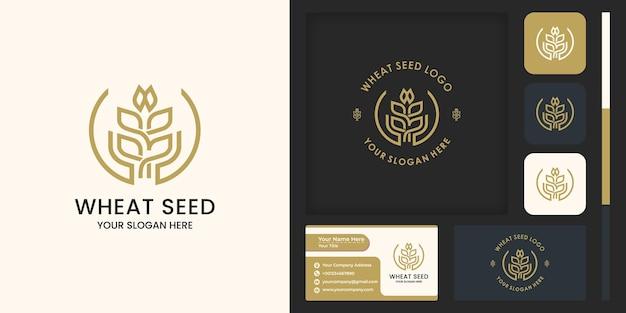 Graan of tarwe met abstract handlogo-ontwerp en visitekaartjeontwerp