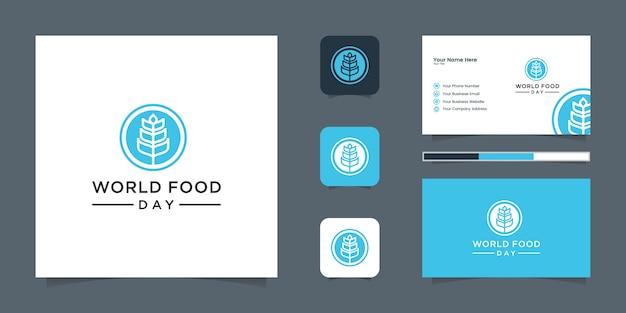 Graan tarwe logo lijntekeningen en visitekaartje