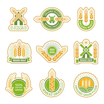 Graanboerderij en productenetiket