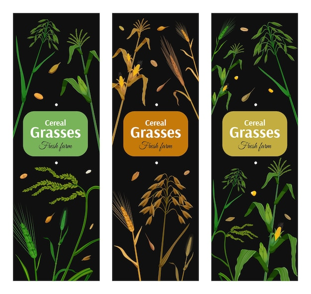Graangewassen verticale posters met groene en gele planten op een zwarte ondergrond