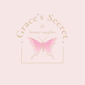 Grace's secret vlinder logo sjabloon, salon business, creatieve ontwerp vector met slogan Gratis Vector