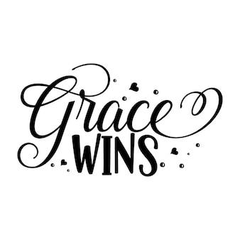 Grace wint typografie premium vector design-offertesjabloon