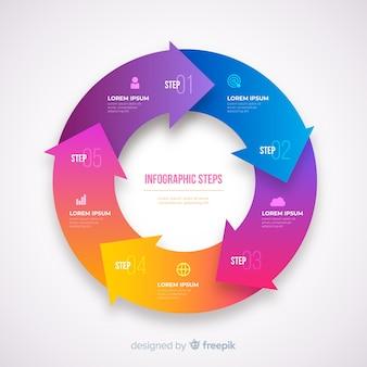 Gradatie realistische kleurrijke stap infographics