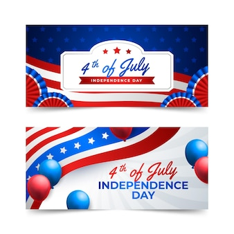 Gradiënt 4 juli - geplaatste banners van de onafhankelijkheidsdag