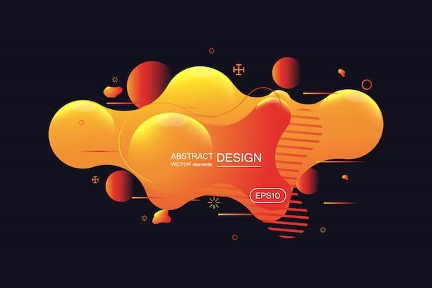 Gradiënt abstracte banner met vloeiende vloeibare vormen