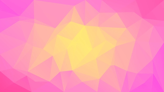 Gradiënt abstracte horizontale driehoek achtergrond. warme roze en gele veelhoekige achtergrond voor bedrijfspresentatie. trendy geometrische abstracte banner. technologie concept flyer. mozaïek stijl.
