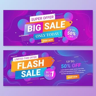 Gradiënt abstracte verkoop banners set