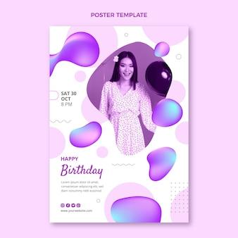 Gradiënt abstracte vloeibare verjaardagsposter