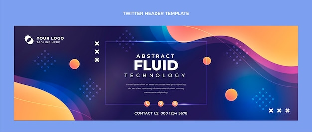 Gradiënt abstracte vloeistof technologie twitter header