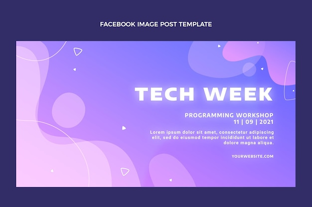 Gradiënt abstracte vloeistoftechnologie facebook post