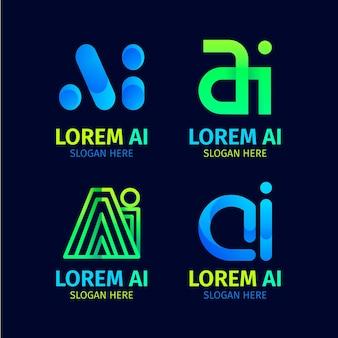 Gradient ai logo sjabloonverzameling