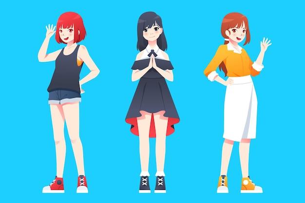 Gradiënt anime full body mensen begroeten