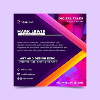 Gradient art expo vierkante flyer