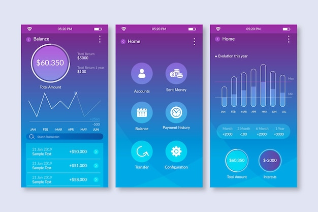 Gradient banking app-interface met statistieken