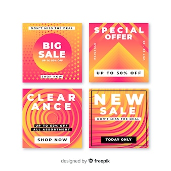 Gradiënt banners verkoop instagram post collectie