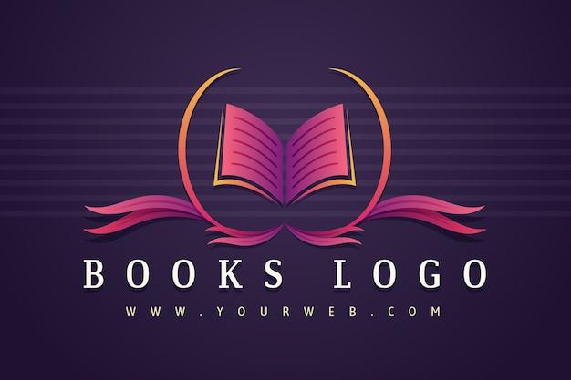 Gradient boek bedrijfslogo sjabloon