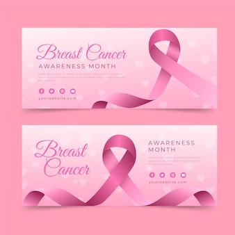 Gradiënt borstkanker bewustzijn maand horizontale banners set