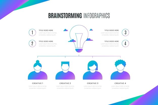 Gradiënt brainstormen horizontale infographic